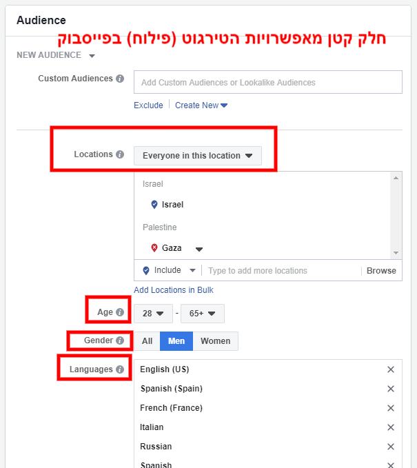 פרסום בפייסבוק - דוגמה לאפשריות הטירגוט (פילוח) בפייסבוק