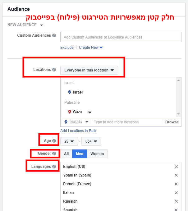 ניהול מדיה חברתית - דוגמה לאפשריות הטירגוט (פילוח) בפייסבוק