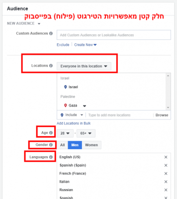 קידום ממומן בפייסבוק - חלק מאפשרויות הגדרת קהל היעד במערכת הפרסום של פייסבוק