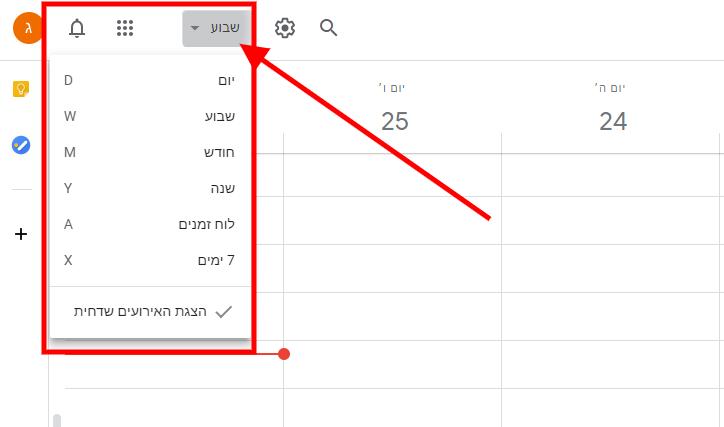 יומן גוגל - הגדרות תצוגה