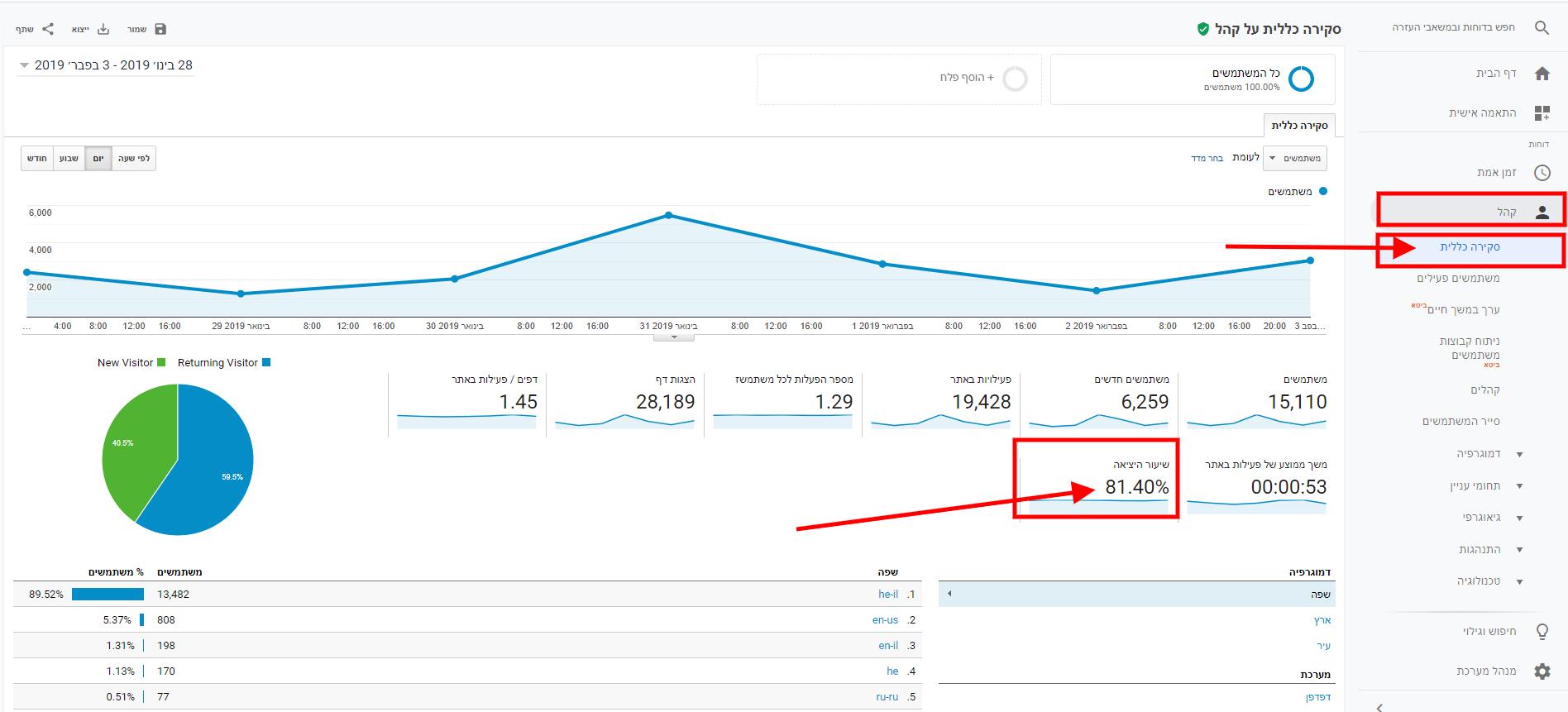 Bounce Rate - אחוז נטישה באתר - בדיקה באמצעות גוגל אנליטיקס