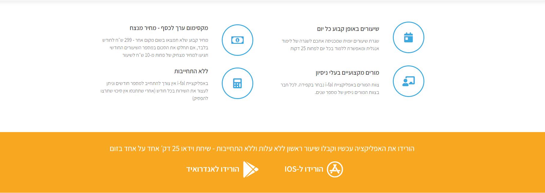 בניית אתר מלא לאפליקציה ללימוד אנגלית - i- fal